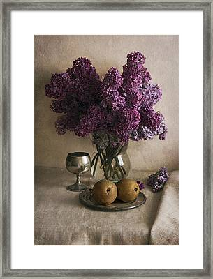 Framed Print featuring the photograph Still Life With Pears And Fresh Lilac by Jaroslaw Blaminsky