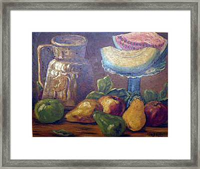 Still Life With Pears And Melons Framed Print by Hilda Schreiber