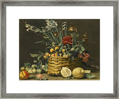 Still Life With Pears Apples Chrysanthemum And Other Flowers In A Basket Beside Two Large Lemons Framed Print by Simone del Tintore