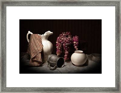 Still Life With Pitcher And Grapes Framed Print by Tom Mc Nemar