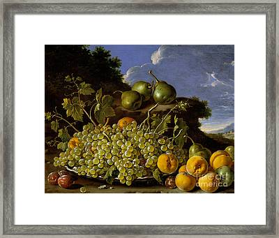 Still Life With Plate Of Grapes, Peaches, Pears And Plums In A Landscape Framed Print