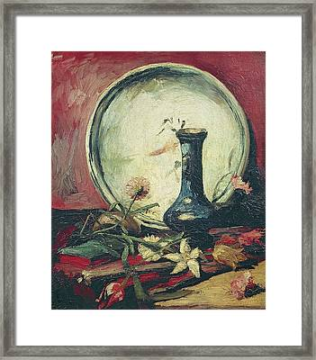 Still Life With Plate, Vase And Flowers, 1884-85 Framed Print by Vincent Van Gogh
