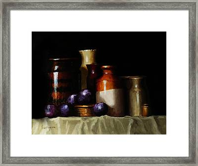 Framed Print featuring the painting Still Life With Plums by Barry Williamson