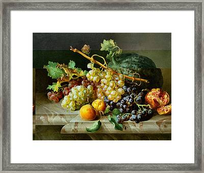 Still Life With Pomegranate Grapes And Melon Framed Print