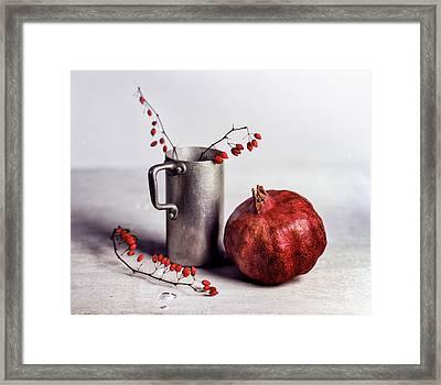Still Life With Pomegranate Framed Print by Nailia Schwarz