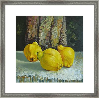 Framed Print featuring the painting Still Life With Quinces by Elena Oleniuc