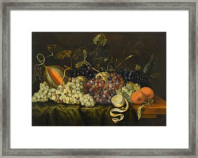 Still Life With Red Black And Green Grapes Framed Print by Jacob Marrel