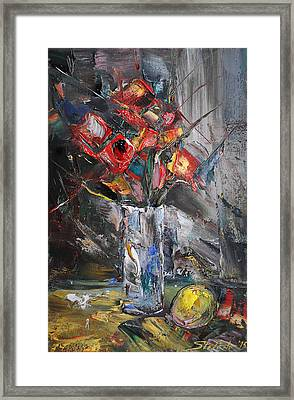 Still Life With Red Flowers And Lemon Framed Print