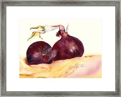 Still Life With Red Onions Framed Print by Karen Mattson
