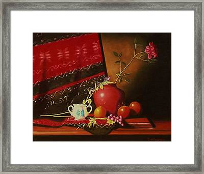 Still Life With Red Vase. Framed Print by Gene Gregory