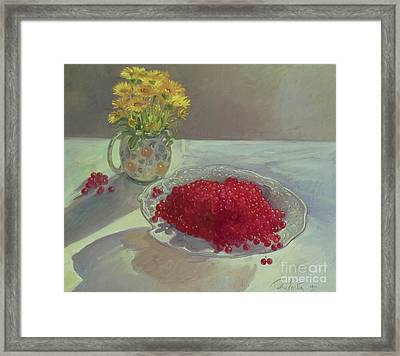 Still Life With Redcurrants And Marigolds Framed Print