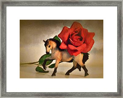 Still Life With Rose Framed Print by Jeff  Gettis