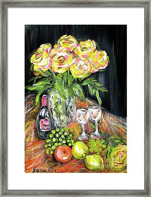 Still Life With Roses, Fruits, Wine. Painting Framed Print