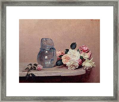Still Life With Roses Framed Print by Ignace Henri Jean Fantin-Latour