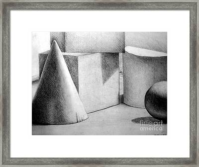 Still Life With Shapes Framed Print by Nancy Mueller