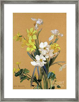 Still Life With Spring Flowers Framed Print by Jean Benner