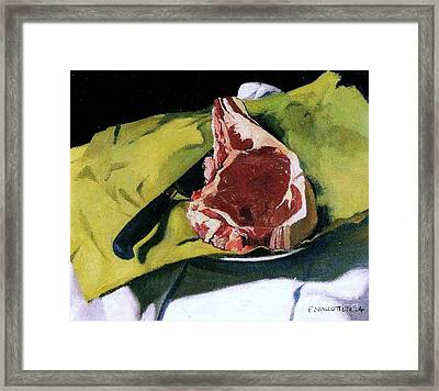 Still Life With Steak Framed Print by Pg Reproductions