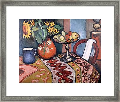 Still Life With Sunflowers II Framed Print by August Macke