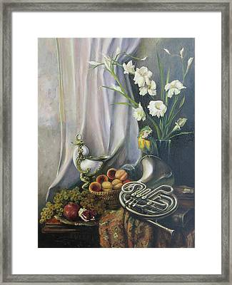 Still-life With The French Horn Framed Print