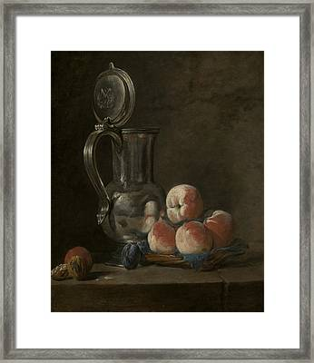 Still Life With Tin Pitcher And Peaches  Framed Print