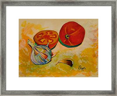 Still Life With Tomatoes And Garlic Framed Print