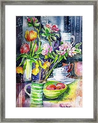 Still Life With Tulips And Apple Blossoms  Framed Print by Trudi Doyle