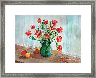 Still Life With Tulips And Apples - Painting Framed Print by Veronica Rickard