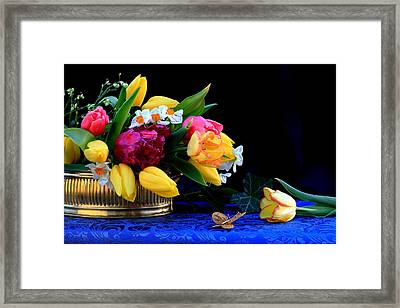 Still Life  With Tulips And Butterfly Framed Print