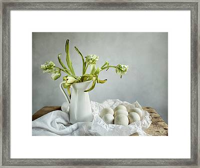 Still Life With Tulips And Eggs Framed Print by Nailia Schwarz