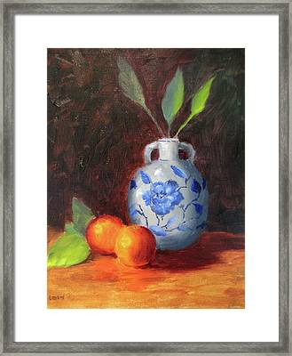 Still Life With Vase And Fruit Framed Print