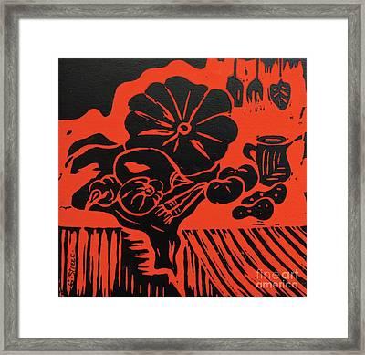 Still Life With Veg And Utensils Black On Red Framed Print by Caroline Street