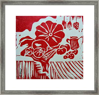 Still Life With Veg And Utensils Red On White Framed Print by Caroline Street