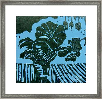 Still-life With Veg And Utensils Green On Blue Framed Print by Caroline Street