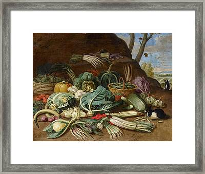 Still Life With Vegetables And A Rabbit Still Life With Fish And Cats In The Kitchen Framed Print by Jan van Kessel