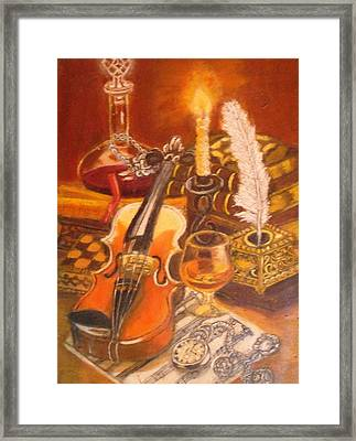 Still Life With Violin And Candle Framed Print