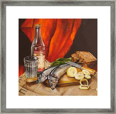 Still Life With Vodka And Herring Framed Print