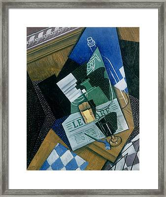 Still Life With Water Bottle, Bottle And Fruit Dish, 1915 Framed Print by Juan Gris