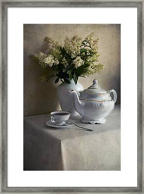 Still Life With White Tea Set And Bouquet Of White Flowers Framed Print