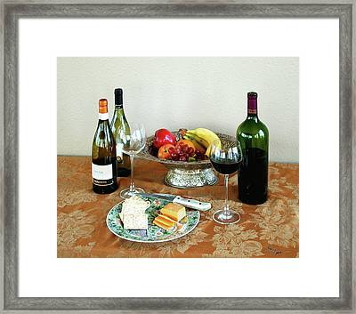 Still Life With Wine And Fruit Cheese Picture Interior Design Decor Framed Print by John Samsen