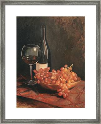 Still Life With Wine And Grapes Framed Print by Anna Rose Bain
