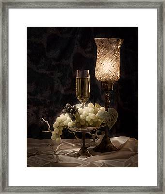 Still Life With Wine And Grapes Framed Print by Tom Mc Nemar