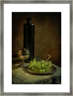 Still Life With Wine And Green Grapes Framed Print by Jaroslaw Blaminsky
