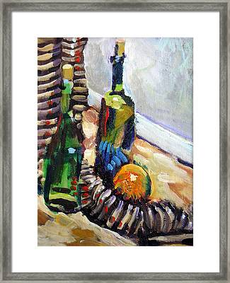 Still Life With Wine Bottles Framed Print by Piotr Antonow