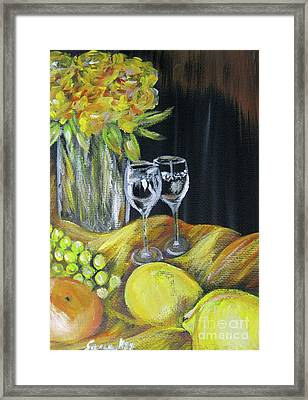 Still Life With Wine Glasses, Roses And Fruit. Painting Framed Print