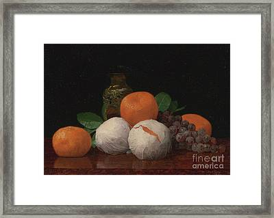 Still Life With Wrapped Tangerines Framed Print by Celestial Images