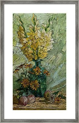 Still Life With Yellow Gladioli Framed Print by Sergey Sovkov