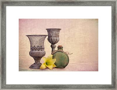 Still Life With Yellow Lily Framed Print by Tom Mc Nemar