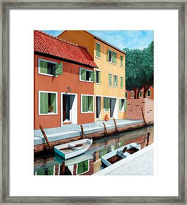 Still, On The Canal--one Image Framed Print by Mary Grden's Baywood Gallery