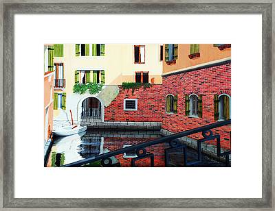 Still, On The Venice Canal, Prints From The Original Oil Painting Framed Print