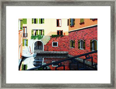 Still, On The Venice Canal, Prints From The Original Oil Painting Framed Print by Mary Grden's Baywood Gallery